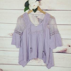 Taylor & Sage | Lavender Lace Peasant Blouse S